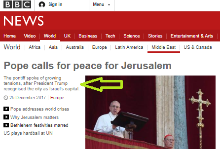 Was BBC News reporting of the Pope's Christmas address accurate and impartial?