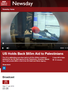 BBC WS Newsday coverage of UNRWA aid story – part one