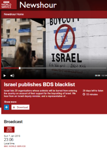 Reviewing BBC reporting on the BDS campaign in 2018