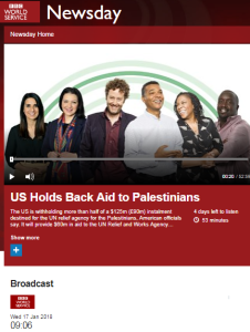 BBC WS Newsday coverage of UNRWA aid story – part two