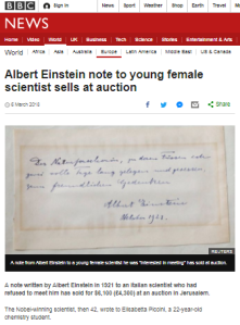 BBC News touts redundant analogy in report on Einstein document