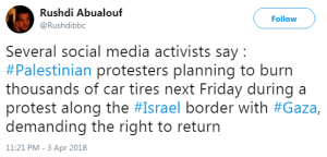 No BBC reporting on preparations for upcoming Gaza border stunt