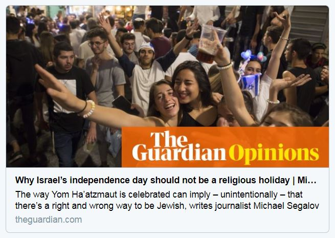 Guardian op-ed challenges the 'rigid' Yom Ha'atzmaut 'orthdoxy' that Israel should exist