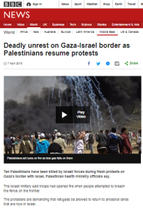 BBC reporting on Gaza border rioting continues to avoid core issue