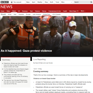 BBC News website coverage of May 14 Gaza rioting