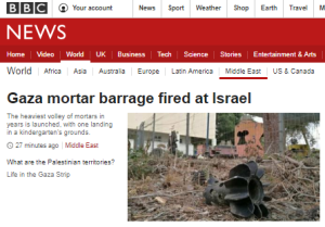 BBC News website coverage of Gaza terrorists' mortar attacks