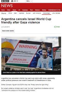 How BBC News framed the Argentina-Israel football match story