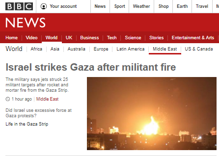 How did BBC News report the latest Gaza missile attacks?