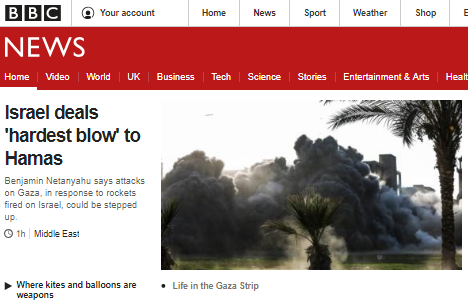 Gaza missile attacks get 44 words on the BBC News website