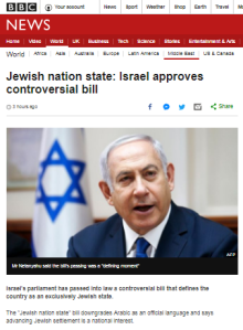 BBC News website framing of Israeli legislation