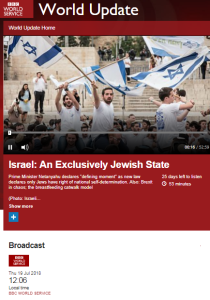 Inaccurate BBC WS radio portrayal of Israeli legislation