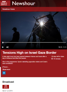 BBC WS radio listeners told Israel prevents Gazans from getting fresh air
