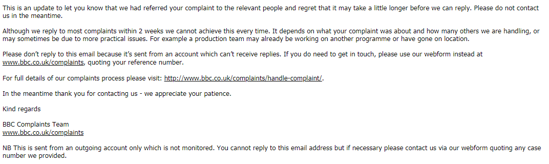 BBC Complaints 'runs out of time' | BBC Watch