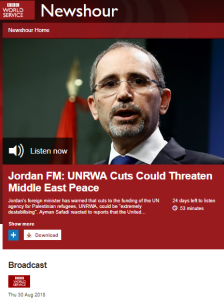 An eleven minute BBC WS report on UNRWA funding – part one