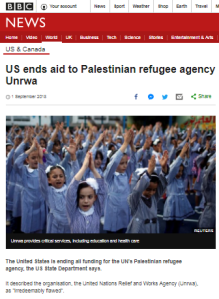 BBC News reporting on US aid cut to UNRWA – part one