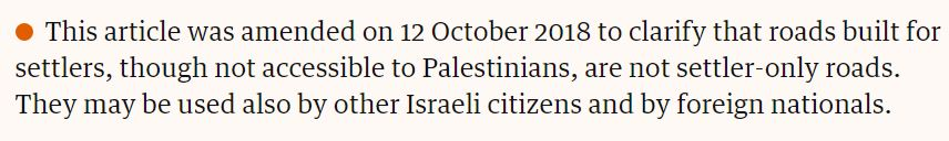 UKMW prompts Guardian to acknowledge there's no 'settler-only' roads in the West Bank