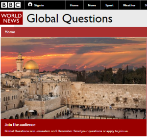 A BBC programme from Jerusalem – and you can take part