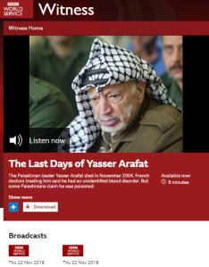 BBC WS history programme rekindles Arafat death conspiracy theory