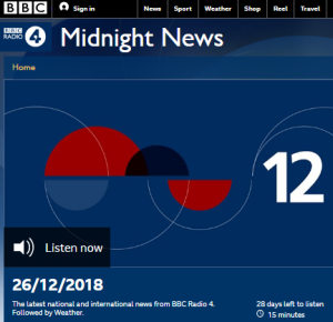 Reviewing the sourcing of BBC Radio 4 December 26 news bulletins