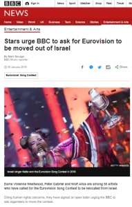 BBC News Eurovision BDS report follows the usual template