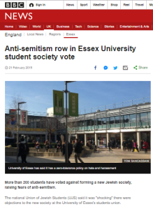 Where did BBC News get its Essex University story quotes?