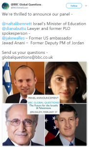 BBC 'Global Questions' from Jerusalem rescheduled
