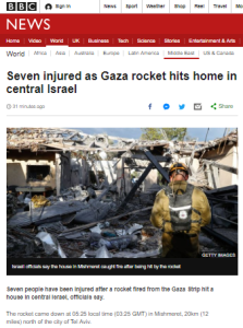 Improved BBC News website reporting on Sharon rocket attack