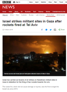 Summary of BBC News website portrayal of Israel and the Palestinians – March 2019
