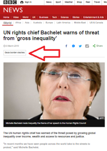 Disproportionate focus in BBC News report on UNHRC speech