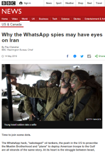 Summary of BBC News website portrayal of Israel and the Palestinians – May 2019