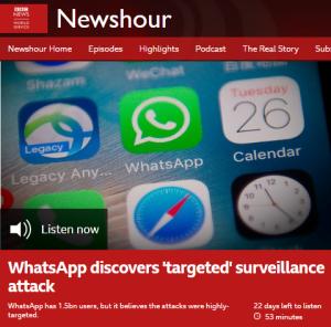 Examining BBC WS 'Newshour' framing of the WhatsApp story