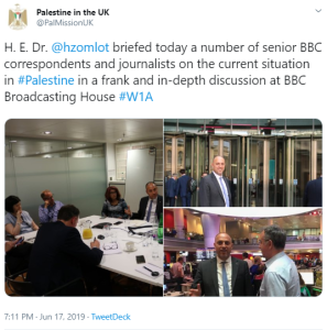 BBC journalists get a 'briefing' from a past interviewee