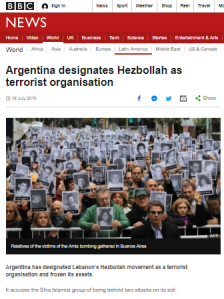 Superficial BBC reporting on Argentina's designation of Hizballah