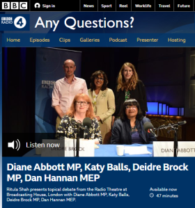 Inaccuracy left unchallenged and unedited on BBC R4 'Any Questions?'
