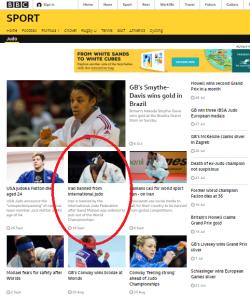 No BBC Sport report on judo disciplinary decision against Iran