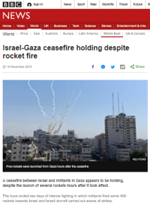 Summary of BBC News website portrayal of Israel and the Palestinians – November 2019