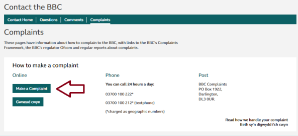 Changes made to BBC Complaints webform