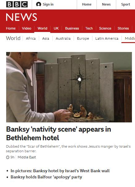 BBC News again self-conscripts to Banksy's Israel delegitimisation