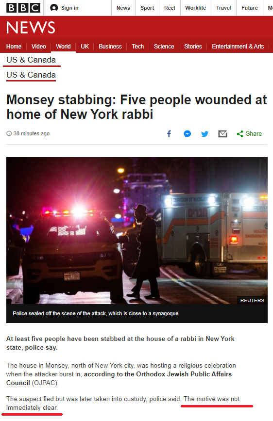 "BBC News claims motive for NY stabbing attack ""not clear"""