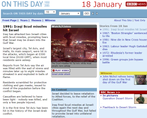 What does the BBC tell audiences about Iraqi attacks on Israel in 1991?