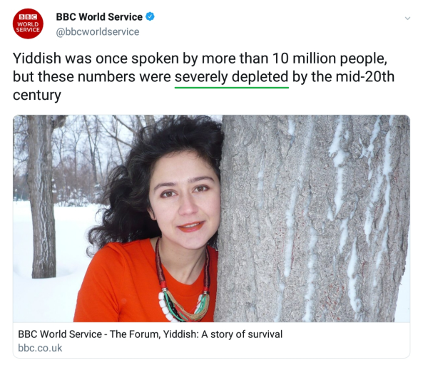 BBC deletes Tweet promoting programme about Yiddish