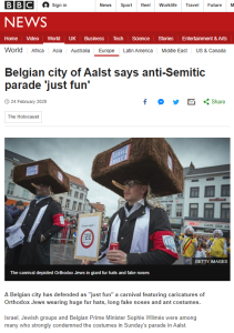 BBC News website runs a headline portraying antisemitism as 'just fun'