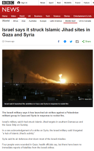 BBC News report on PIJ attacks focuses on Israel's response