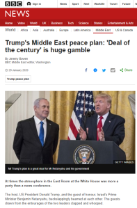 Reviewing BBC News website coverage of the US 'Peace to Prosperity' plan