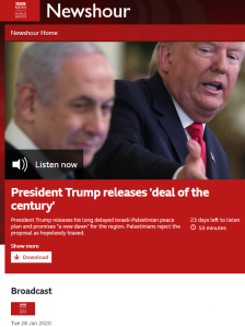 BBC WS radio promotes US peace plan commentary from partisan lobbying group